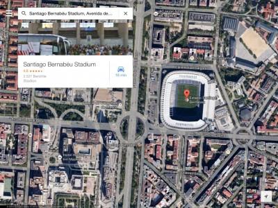 Madrid, 2014, Estadio Santiago Bernabéu und ringsherum Wohn- bzw. Geschäftshäuser