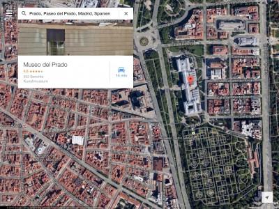 Madrid, 2014, Prado. Die Größe des Prado kann man gut im Vergleich zu den benachbarten Gebäuden ermessen. Auch der angrenzende Park ist einen Besuch wert.