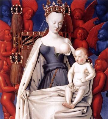 Madrid, Prado, 2014, Jean Fouquet, Die thronende Madonna mit dem Christuskind Das Bild erscheint sehr modern. Es stammt aber aus dem Jahre 1456.