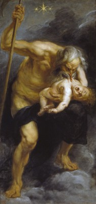 Madrid, 2014, Prado, Rubens, Saturn verschlingt seinen Sohn (1623). Eine Geschichte aus der römischen Mythologie. Seit Saturn die Prophezeiung erhielt, dass einer seiner Söhne ihn entmachten würde, hielt er es für eine schlaue Idee, seine neugeborenen Nachfahren aufzufressen. Beim Söhne Jupiter ging's schief und prompt erfüllte sich die Prophezeiung.