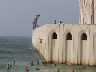 Casablanca, 2014, Moschee Hassan II., nahe am Wasser gebaut.