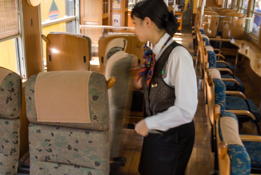 In Japan mag ich die einfach gelösten Dinge. Für die Rückfahrt werden die Sitze herumgedreht, damit jeder in Fahrtrichtung sehen kann. Wenn man sich während der Fahrt unbedingt anschauen will, dreht man den Sitz halt wieder herum.